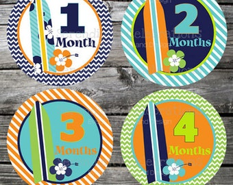Set of Baby Monthly Stickers Surf Boy Baby Milestone Stickers Baby Month Stickers Baby Bodysuit Sticker Baby Shower Photo Prop
