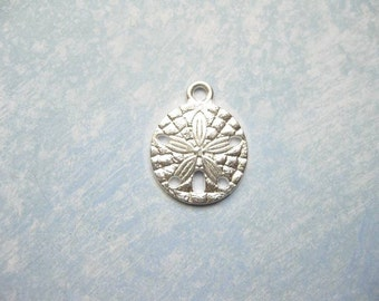 10 Sand Dollar Charms in Bright Silver Tone - C2148