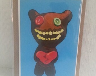 "Romantic ""Mr Buttons"" Fuggler Greeting Card (designed by Matte Black)"