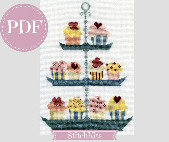 Cup Cake, cross stitch patten, PDF file