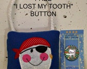 """Pirate Tooth Fairy Pillow & FREE Button, plush,embroidered, comes with a FREE """"I Lost my Tooth"""" button"""