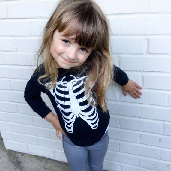 Skeleton bones, ribcage, long sleeved black kids tee shirt, surfer, birthday present, unisex, playclothes, birthday gift, glow in the dark