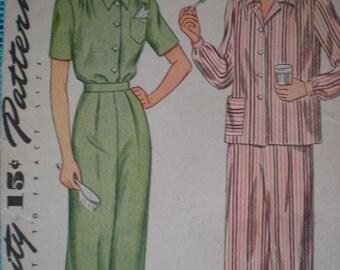 1940s Simplicity Loungewear Pajamas Sewing Pattern 4757, Size 14, Bust 32, Uncut