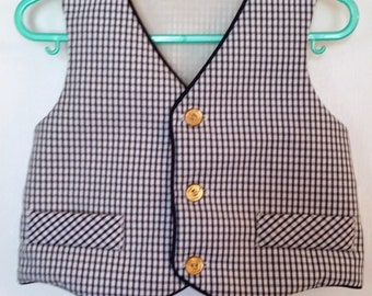 So Dapper, Navy Blue and White Plaid Nautical Vest, Size 2