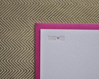 heart letterpress thank you cards