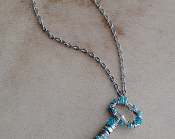Blue Skeleton Key Necklace Sparkle Beaded Jewelry Pendant Silver Fantasy Fairy Jewelry