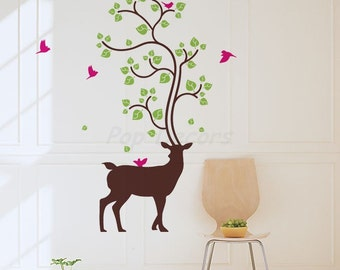 Deer Wall Stickers Etsy - Custom vinyl wall decals deer