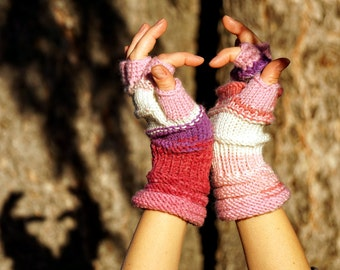 Multicolored knitted white, pink, purple, rose, violet and grey fingerless gloves, mittens