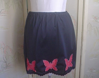 Black Vintage Half Slip with Red Lace Peek-a-Boo Butterflies 1960s Mini Slip
