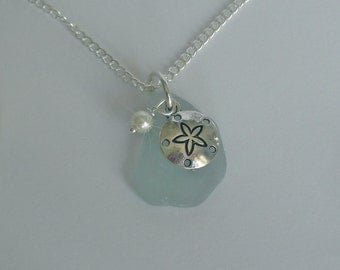 Sea glass Necklace. Sand dollar necklace Beach glass jewelry. Beach glass necklace