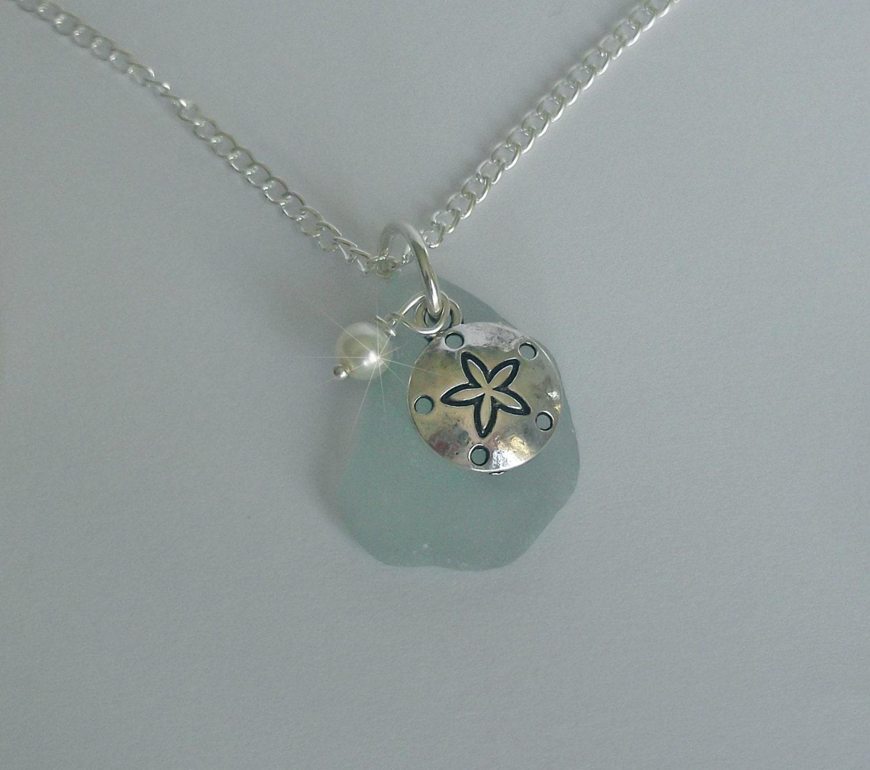 sea glass necklace sand dollar necklace glass jewelry