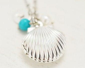 personalized seashell locket, best friend locket, mermaid locket, silver shell locket, nautical jewelry, keepsake, bridesmaid, layering gift