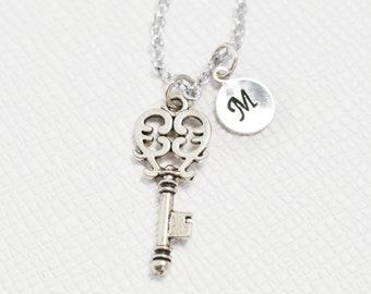 set of 2 silver key necklace, skeleton key jewelry, custom initial, friendship, wedding, 21st birthday, silver necklace, bridesmaid necklace