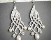 Bridal Chandelier Earrings, Swarovski Pearl Wedding Earrings, Crystal Rhinestone Ribbon Bow Earrings, Old Hollywood Bridal Jewelry, MABEL
