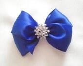 Royal Blue Satin Hair Bow with Rhinestone Center, Sparkle Flower Girl Hair Bow, Hair Bow, Cobalt Blue Hair Bow, Pageant Hair bow