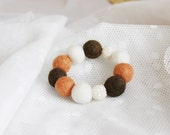 FINAL SALE Hand felted bracelet in cream, brown & ginger (orange, foxy). Glitter balls, sparkle elements. Felt fashion. Geometrical, Balls
