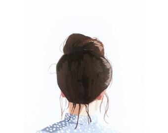 "5x7"" hair art - ""Top Knot 40"" giclee print"