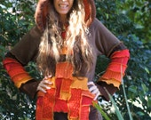 Custom made to order   Recycled Sweater Coat Hoodie.  upcycled fairy Elf  Large Hippie Grateful Dead Furthur