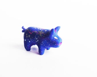 Space Hog! Polymer Clay Galaxy Piglet Animal Totem-Cute Piggy with Stars