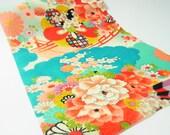 Fray-free Japanese Kimono fabric resinated Chirimen Fabric blue