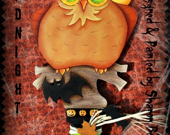 E PATTERN - Midnight Owl LARGE Halloween Key! Owl, Moons & Bats everywhere! Designed by Sharon Bond - FAAP