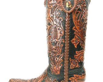 Brown and Black hand tooled cowboy boot made to order to your size with initials