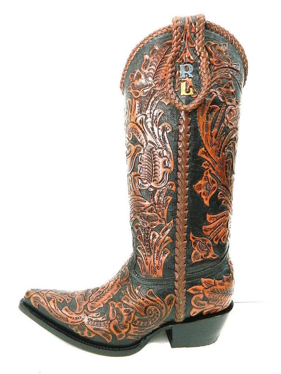 brown and black tooled cowboy boot made to order to your
