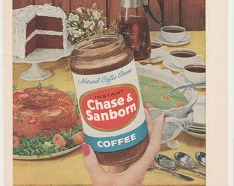 1959 Advertisement Chase & Sanborn Instant Coffee Illustrated Entertaining 50s Kitchen Diner Cafe Retro Mid Century 8x11 Wall Art Decor