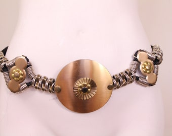 Vintage - 80s - Silver & Gold - Chunky Metal - Statement - Black Rope - Chain Belt