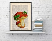 Little frogs on a mushroom Dictionary Book Print - Altered art on upcycled book pages BPAN179