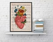 Pink human heart with flowers over music sheet- Spring time heart print over music sheet.MP01