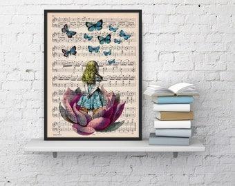 Summer Sale Alice in wonderland looking for apink butterfly over a music sheet- Nursery Wall decor, Alice in wonderland art print ALW013MSL