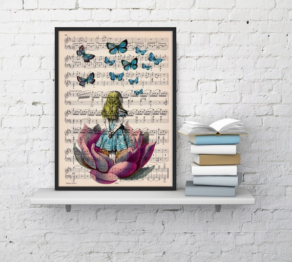Alice in wonderland looking for blue butterfly over a music sheet- Nursery Wall decor, Alice in wonderland art print ALW013MSL