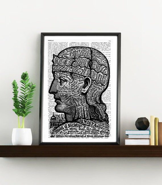 Spring Sale Teosophical Phrenology Brain Anatomy Print on Vintage Encyclopedic Dictionary Book art BPSK046