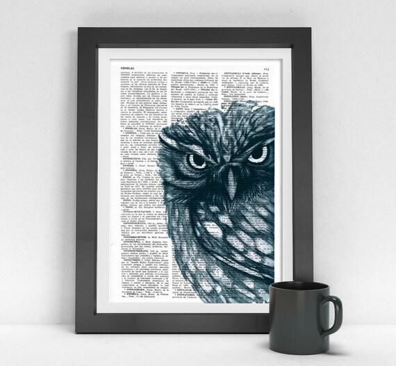 Black Friday Owl Dictionary page book art print Dark Blue Owl Print on dictionary page illustration book print art BPAN023