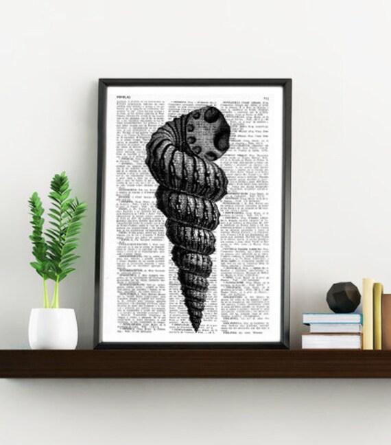 Book Print Dictionary or Encyclopedia Page Print- Book print Sea Shell IV Print on Vintage Dictionary Book art SEA036
