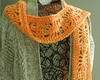 Orange Cotton Crochet Scarf - Summer Boho Skinny Scarf - Bohemian Accessories - Boho Clothing