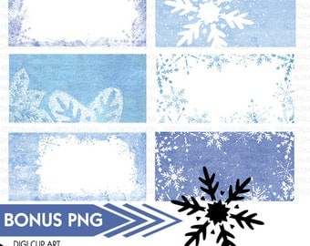 Painted Snowflake Tags - Textured - Digital Clip Art - INSTANT DOWNLOAD - for Invites, Crafts, Collage, Journaling, Cards, Scrap Booking