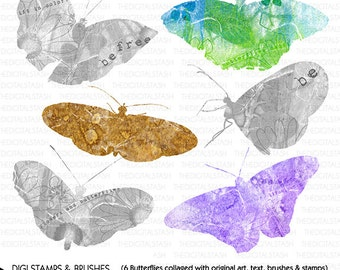 Butterfly COLLAGE Package - 6 Brushes and Stamps - INSTANT DOWNLOAD - for Invites, Crafts, Collage, Journaling, Cards, ScrapBooking and More