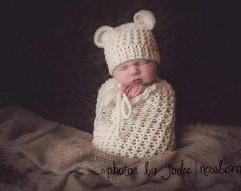 Set of 2 Crochet Patterns for Baby Bear Beanie Hat and Karma Cocoon or Swaddle Sack - Welcome to sell finished items