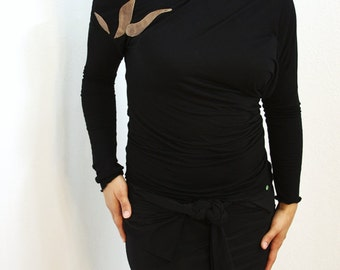 Black Cotton Jersey multi-way Off the Shoulder Top