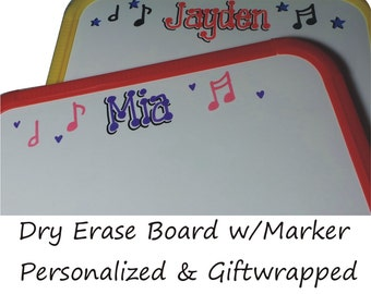 SALE ** Personalized Dry Erase Board MUSIC NOTES - Giftwrapped - White Board - Wipe Board - Music Party Favor