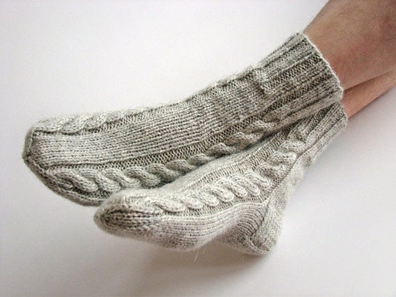 Warm Thick Yarn Hand Knitted Cable Socks - Autumn Winter Comfort -100% Natural Organic Eco Clothing