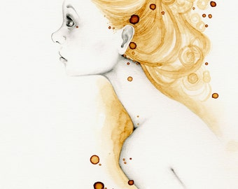 "Fine Art Print She's ""Reflections"" Fine Art Print of My Original Drawing Coffee Staining Work of Art Drawing of a Girl Gold Home Decor Art"