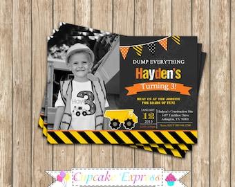 Construction Zone Chalkboard photo Invitation  DIY PRINTABLE Printable Birthday 7 Invitation 5x7 4x6  dump truck tools cupcake express