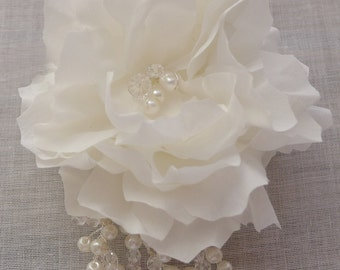 Silk Blossom with Crystal Twigs - Bridal Crystal Hair Comb - Flower and crystal spray comb