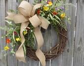 Wildflower Wreath - Spring / Summer Wreath - Everyday Burlap Wreath, Door Wreath, Front Door Wreath