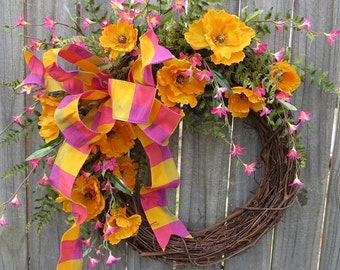 Spring Wreath with Poppies, Bright Pink and Orange Poppy Wreath, California Poppy, Spring / Summer Wreath, Bright Wreath, Wreath with Bow