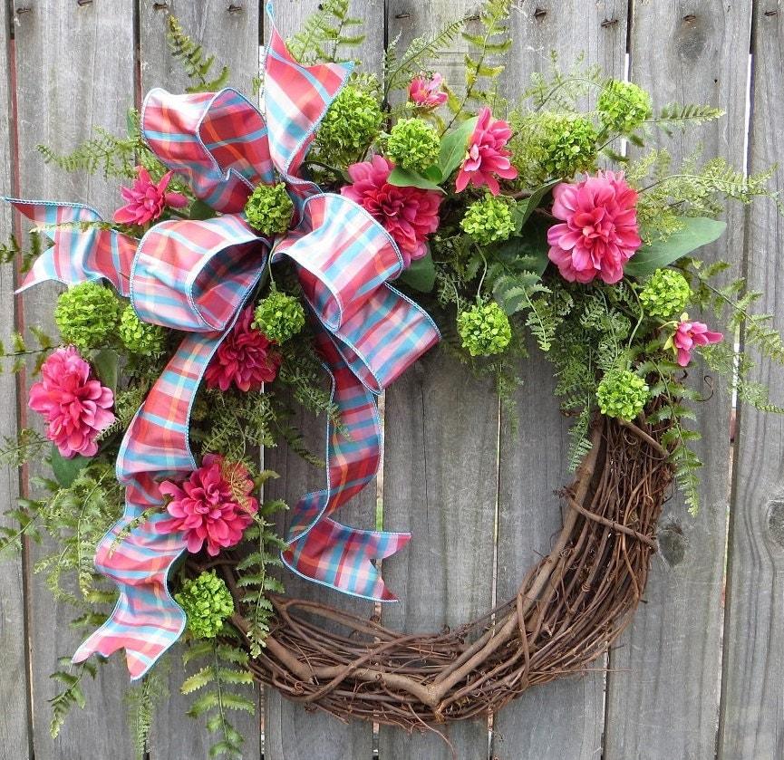 Wreath Spring Summer Spring Summer Door Wreath Pink