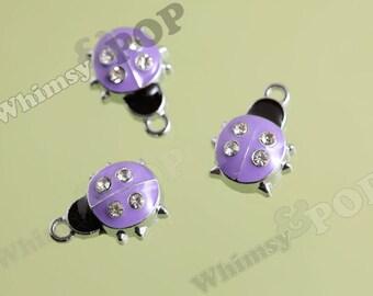 Purple Ladybug Silvertone Enamel and Rhinestone Charm, Lady Bug Charm, Ladybug Charm (4-3B)